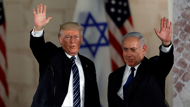 President Trump and Prime Minister Netanyahu, almost symmetrical in their positions (Photo: Reuters)  (Photo: Reuters)