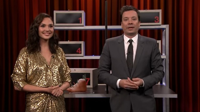 Gadot playing Box of Lies with Jimmy Fallon, as part of the film's promotional tour