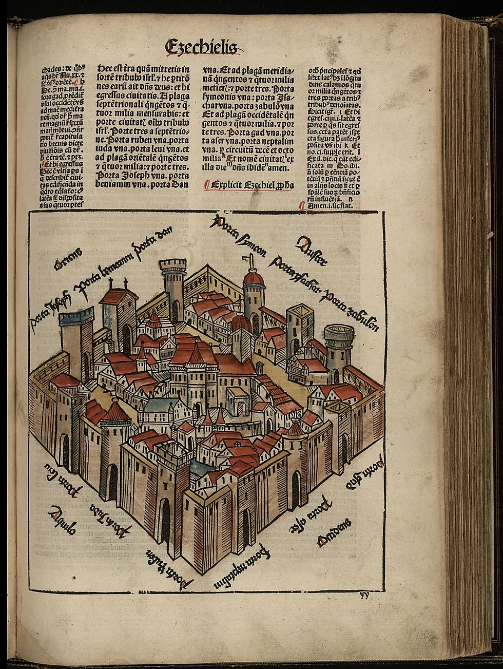 Nicolas de Lyra's map. A detailed description of the future temple (Photo: National Library of Israel)