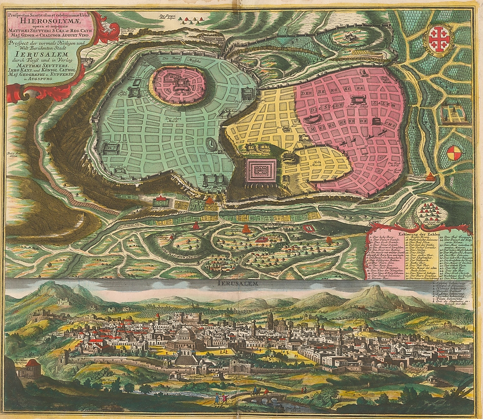Seutter's map. Two maps on one sheet (Photo: National Library of Israel)