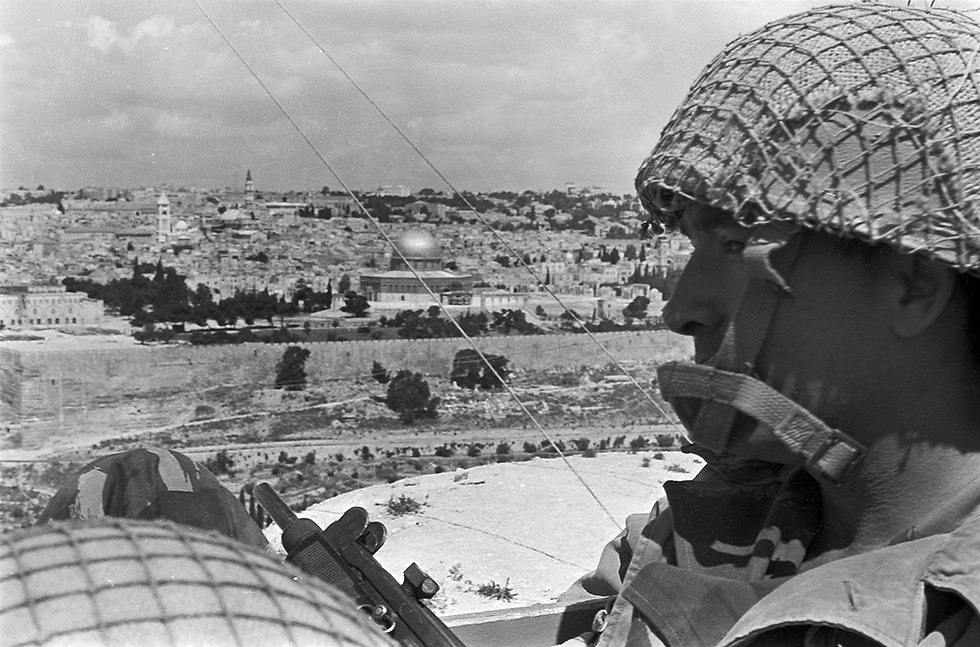 Two soldiers observing the Temple Mount