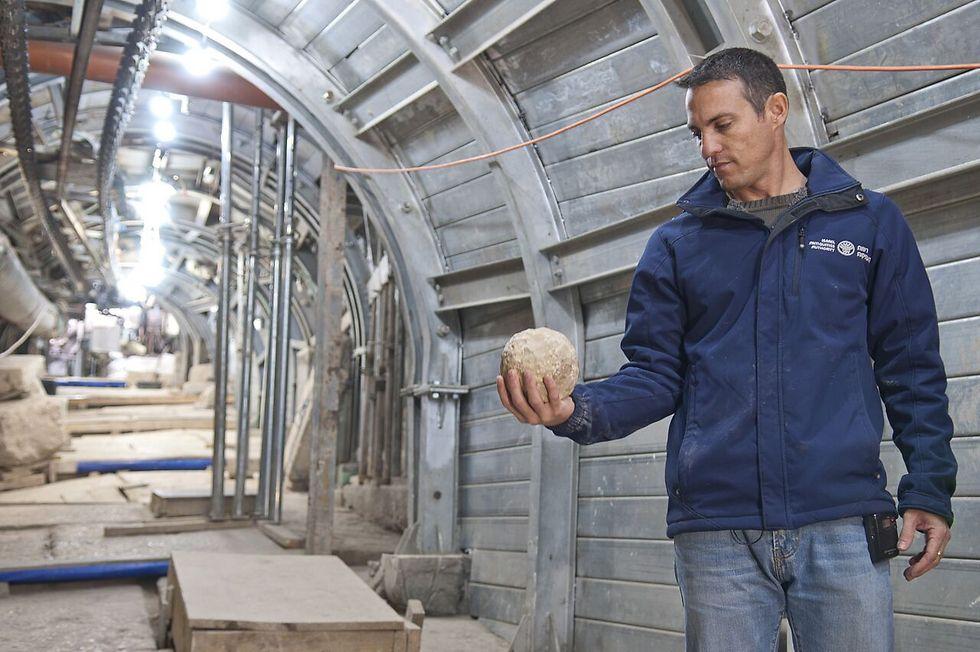 נחשון זנטון מחזיק אבן בליסטרה שככל הנראה נורתה במהלך המצור על העיר (ילום: שי הלוי, באדיבות רשות העתיקות) (ילום: שי הלוי, באדיבות רשות העתיקות)