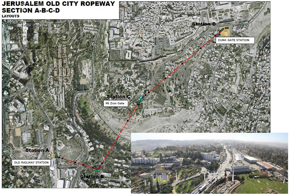 The map and an illustration of the cable cars (Photo: Courtesy of the Jerusalem Development Authority)
