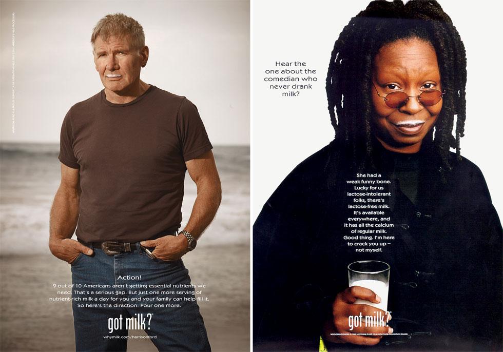 וופי גולדברג והריסון פורד. הומור עצמי בקמפיין שהחל ב-1993 והפך לאחד המוצלחים והידועים בעולם