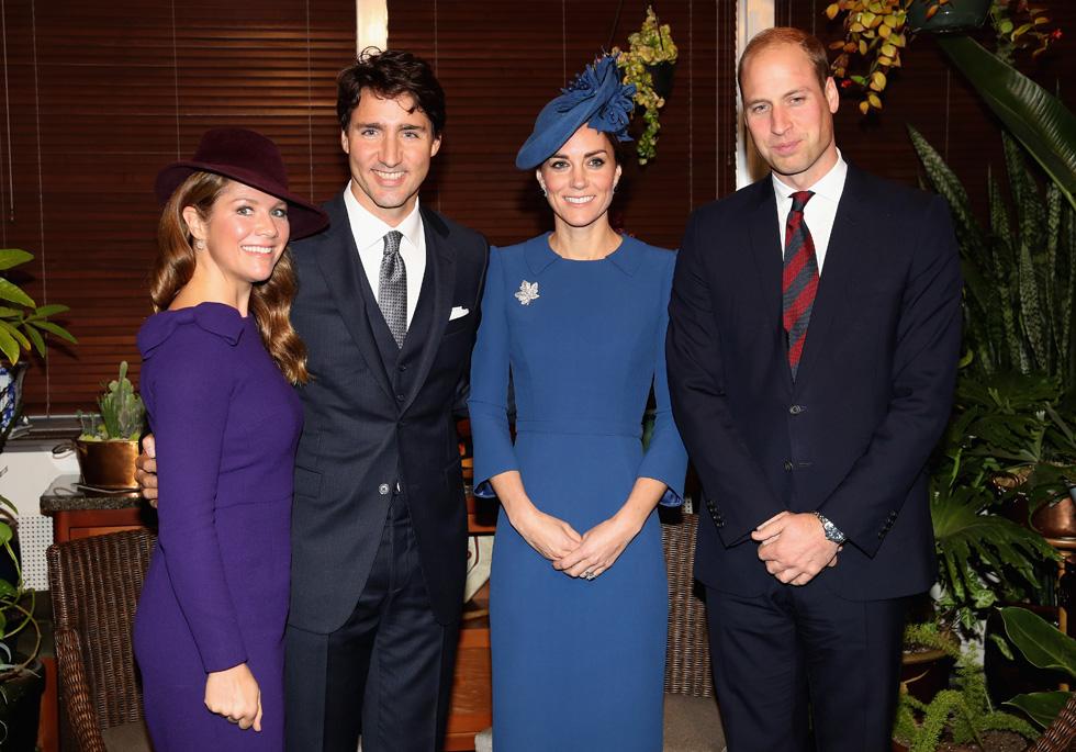 הזוג טרודו (משמאל) עם אורחים מאנגליה - הנסיך וויליאם ואשתו קייט מידלטון. הרבה יחסי ציבור ועבודה בפייסבוק ובטוויטר (צילום: Gettyimages)