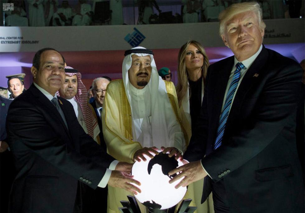 טראמפ, המלך הסעודי וא-סיסי (צילום: AP / Saudi Press Agency) (צילום: AP / Saudi Press Agency)