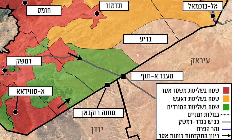 Красная зона – под властью армии Асада, оранжевая – в руках ИГ, зеленая – у повстанцев. Пунктиром обозначена временная граница, сплошная черная линия – шоссе Багдад-Дамаск. Карта с сайта Сирия Дайрект