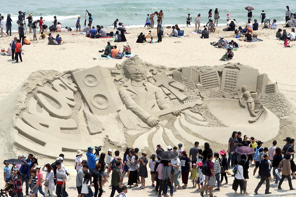 פסטיבל פיסול בחול בבוסאן. דרום קוריאה (צילום: EPA)