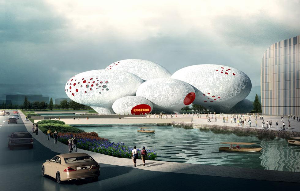 עדיין בעבודה: מוזיאון הקומיקס של סין, בתכנון MVRDV. הבועות מייצגות את בועות הקומיקס. לחצו על ההדמיה כדי להכיר את הפרויקט (באדיבות MVRDV)