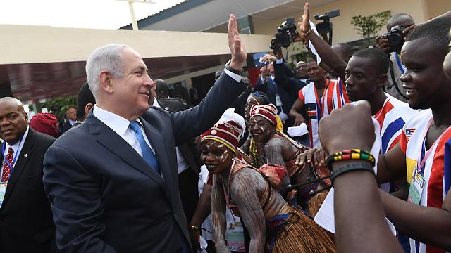 Prime Minister Benjamin Netanyahu in Liberia in June (Photo: Kobi Gideon/GPO)