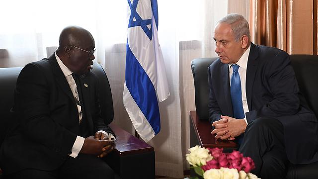 """עם נשיא גאנה ננה אקופו-אדו (צילום: קובי גדעון, לע""""מ) (צילום: קובי גדעון, לע"""