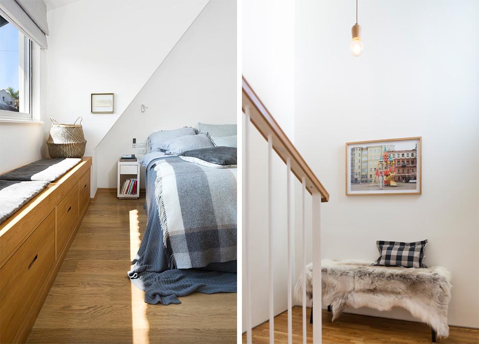 """מימין: המדרגות אל הקומה השנייה. משמאל: בחדר ההורים נראה שיפוע הגג, שלא כוסה כמקובל בתקרת גבס שטוחה. """"ביקשנו להדגיש את התחושה שנותן השיפוע, כאילו מדובר בבית אירופי"""", אומר שינקין (צילום: שי אפשטיין)"""