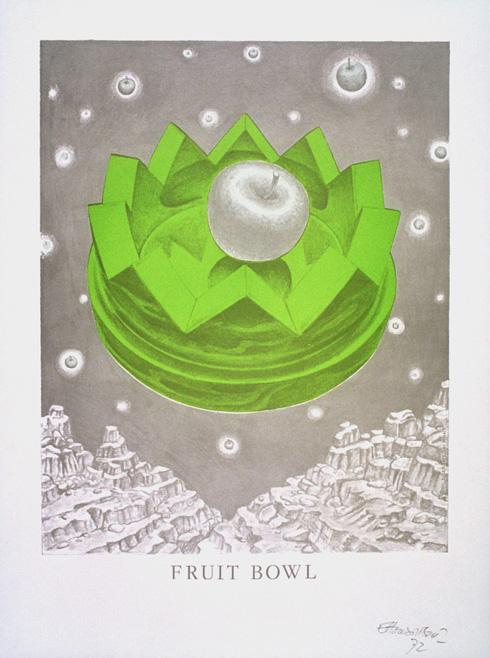כרזה נדירה של קערה בעיצוב סוטסאס, שמוצגת לא רחוק מהקערה עצמה (צילום: באדיבות מוזיאון ישראל)