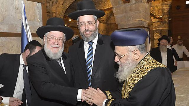 With his son, Chief Ashkenazi Rabbi David Lau, and Chief Sephardic Rabbi Yitzhak Yosef (Photo: Western Wall Heritage Foundation)
