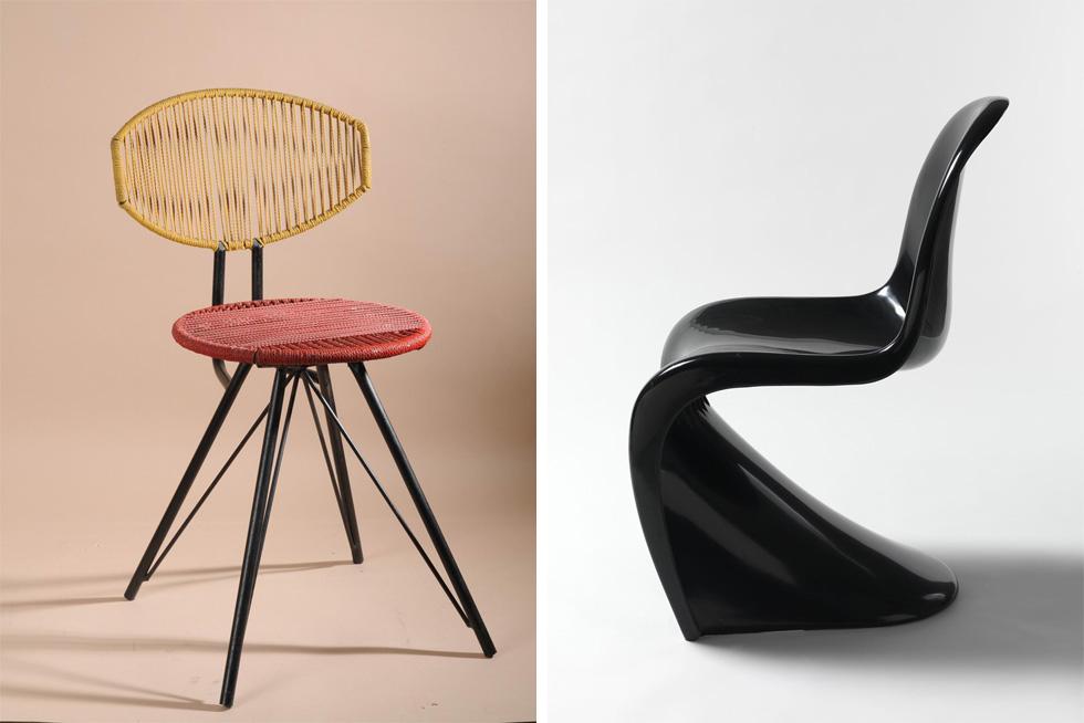 שני כיסאות שמוצגים בתערוכה: מימין הכיסא האיקוני של ורנר פנטון, משמאל כיסא משנות ה-50 של המאה הקודמת, שתרם לאוסף יעקב קאופמן, ושהמעצב שלו אינו ידוע. מעמדם של כל המוצגים שווה, אך כמחצית הפריטים גבוהים או רחוקים כל כך, שקשה להתרשם מהם באמת (צילום: באדיבות מוזיאון ישראל)