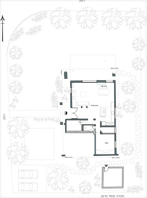 תוכנית קומת הקרקע לפני השיפוץ (תכנון: סטודיו רון שינקין)