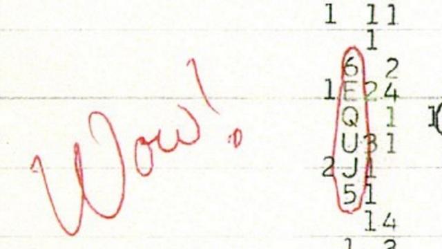 """אותות ה""""וואו"""" המקוריים כפי שנקלטו בשנת 1977 (צילום מסך)"""