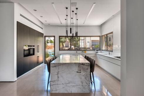 הפיצ'ר המרכזי במטבח הוא האי המחופה בלוח גדול של אבן גרניט במראה מָט (צילום: עודד סמדר)