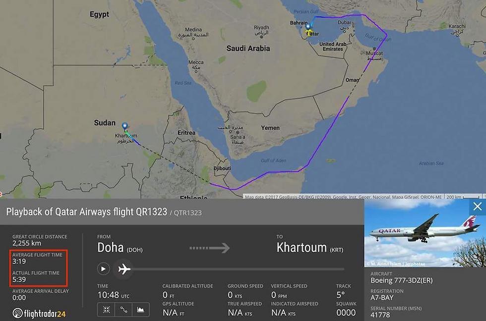 הטיסה התארכה מאוד לאחר סגירת המרחב האווירי של סעודיה לטיסות מקטאר ואליה