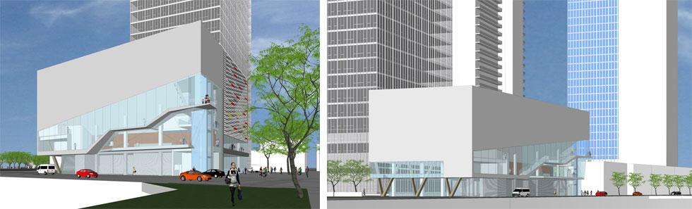 כך זה נראה בהדמיית האולם, שמתכנן משרדו של האדריכל משה צור. ''הבטחתי שזה יהיה אייקון על נתיבי איילון'', הוא מכריז (הדמיה: משה צור אדריכלים)
