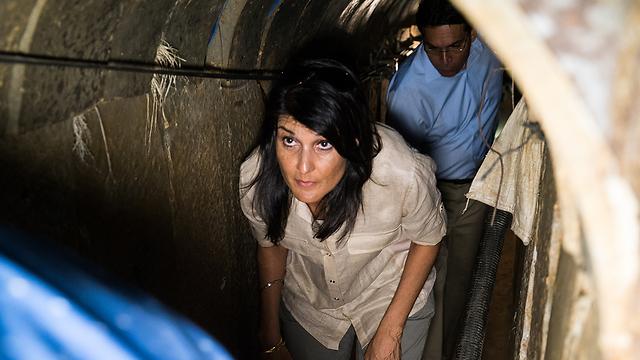 Nikki Haley visiting a Hamas tunnel (Photo: IDF)