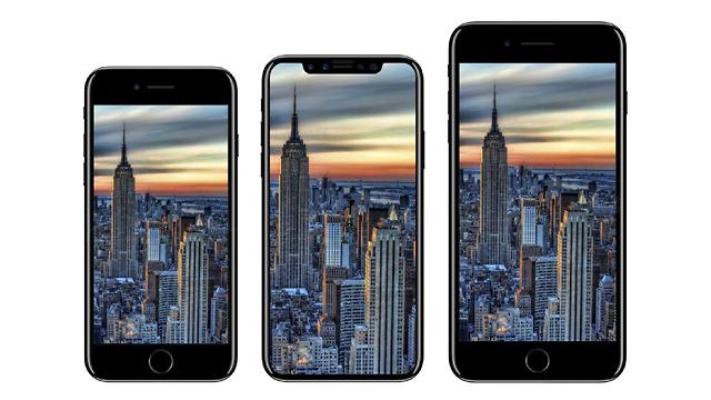 """האייפון 8 במרכז לצד אחיו ה""""רגילים"""" (צילום מסך: iDrop)"""