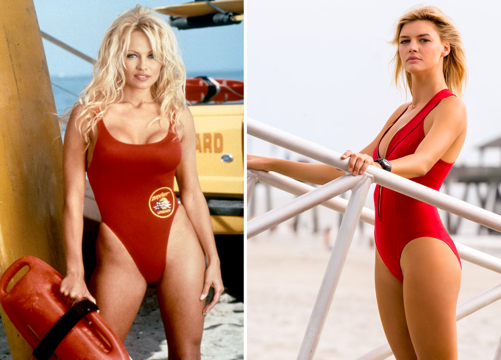 """בגד הים האדום חוזר למסך. קלי רורבאך (מימין) ופמלה אנדרסון ב""""משמר המפרץ"""" (צילום שמאל: rex/asap creative, צילום ימין: באדיבות GLOBUSMAX)"""