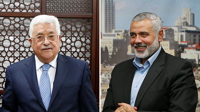 Head of Hamas Ismail Haniyeh and PA President Mahmoud Abbas