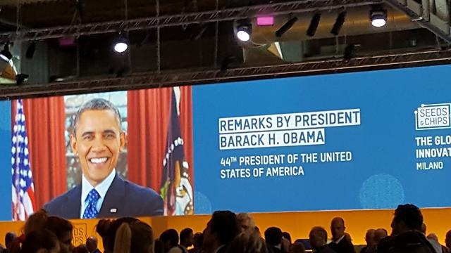 """השנה הגיע גם נשיא ארצות הברית לשעבר ברק אובמה כדי לנאום, מה שהעלה את הבאזז סביב התערוכה (צילום: יח""""צ) (צילום: יח"""