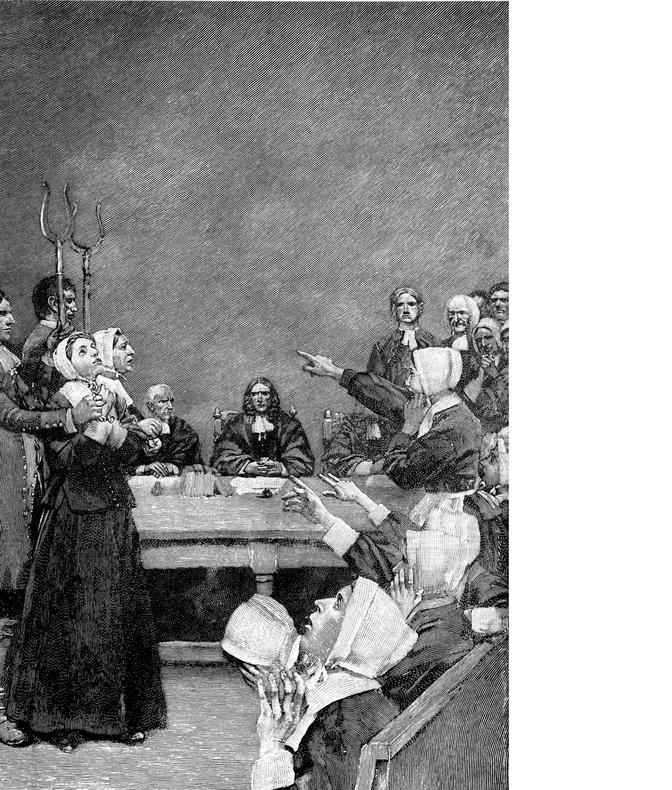 הכומר אמר שהאישה הזו היא לא בן אדם: משפט המכשפות מסיילם בסוף המאה ה־ 17 | ציור: הווארד פייל, 1893