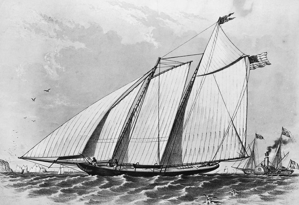 ציור של אחת הסירות מהתחרות הראשונה ב-1851 (צילום: gettyimages)