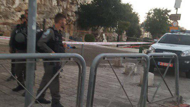 Border police at the scene of the attack
