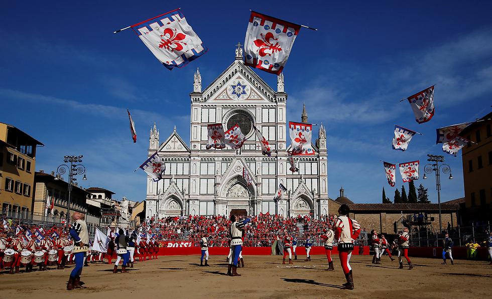 דגלנים בפירנצה, איטליה (צילום: רויטרס)