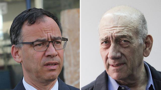 ראש הממשלה לשעבר אולמרט ופרקליט המדינה שי ניצן (צילום: אלכס קולומיסקי וגיל יוחנן)