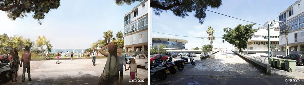 במקום הרמפה הקיימת בקצה שדרות בן גוריון, מגביהים את הכביש המשוקע מתחת לכיכר. התוצאה: יותר מסוכן לחציה (צילום: מתוך tel-aviv.gov.il)