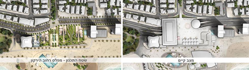 המצב הנוכחי והתכנון העתידי. הציבור ירד לחוף דרך המגדלים (צילום: מתוך tel-aviv.gov.il)