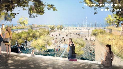 גרמי-מדרגות יובילו את הציבור לחוף. לא בהדמיה: המגדלים שדרכם עוברים (צילום: מתוך tel-aviv.gov.il)