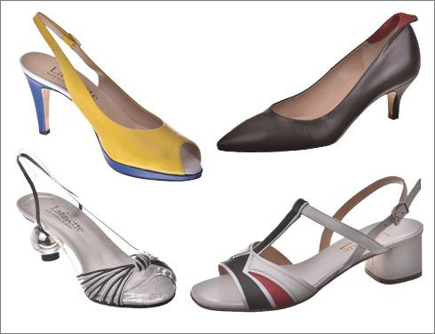 נעליים עם לשונית אדומה, 1,100 שקל; סנדלי עור בצבע לבן במראה וינטג', 999 שקל; נעלי פיפ-טואו צהובות, 1,100 שקל; סנדלים שקופים, 1,299 שקל (צילום: נדב כהן יונתן)