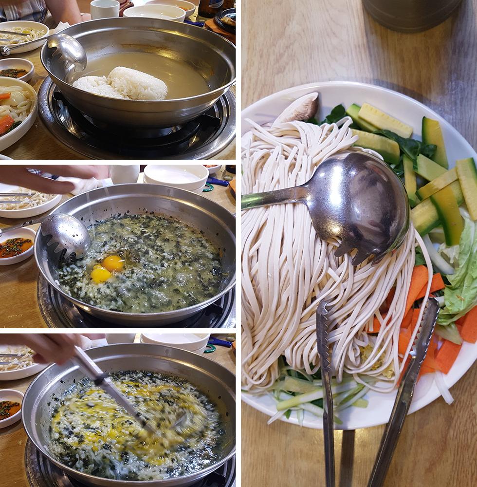 מימין: מרכיבי קאל-גוקסו עתידי. משמאל: תבשיל אורז, אצות וביצה לסיום הארוחה (צילום: אייל להמן)