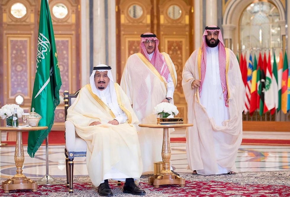 מימין לשמאל: מוחמד בן סלמאן, מוחמד בן נאיף והמלך סלמאן (צילום: EPA)