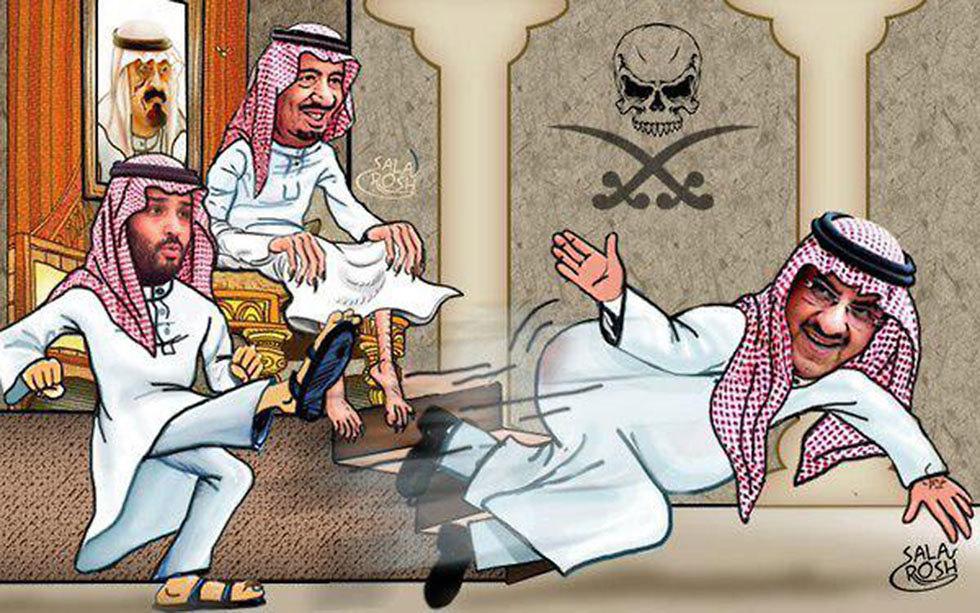 קריקטורה שהופצה ברשתות החברתיות: מוחמד בן סלמאן בעט במוחמד בן נאיף  ()