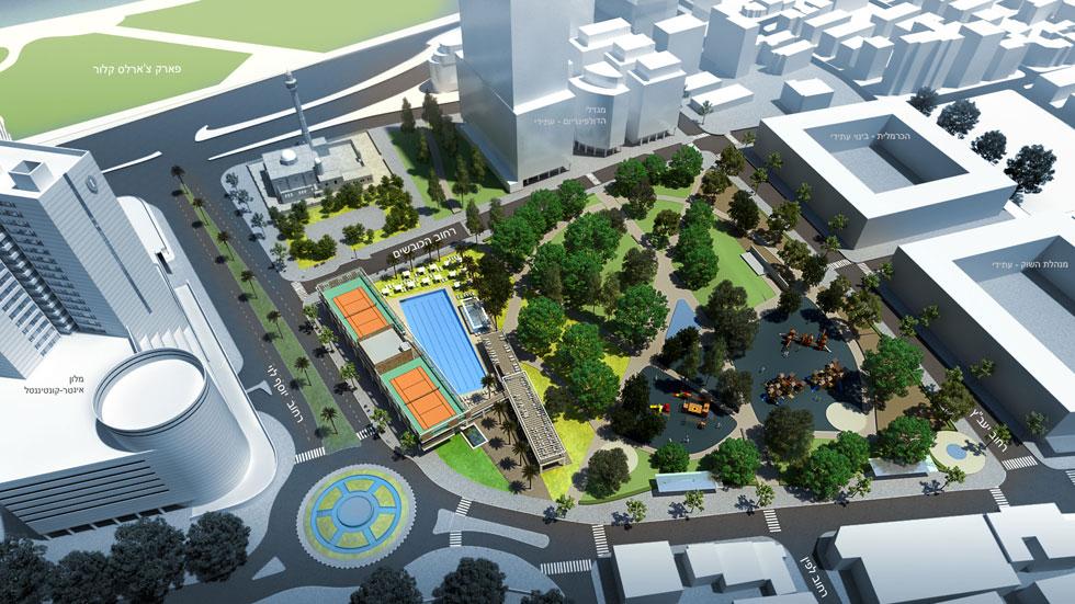 כך נראית התוכנית של התושבים, שנעזרו באדריכל תמיר יהודה. העירייה מתכוונת להציב בסמוך לשם מגדלים, במסגרת העסקה עם בעלי הדולפינריום (הדמיה: תמיר יהודה)