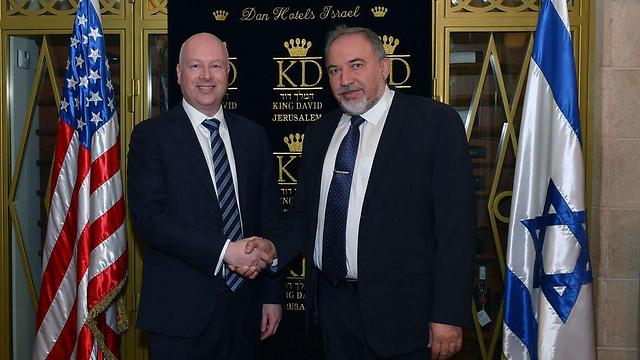 Jason Greenblatt with former defense minister Avigdor Liberman in Jerusalem