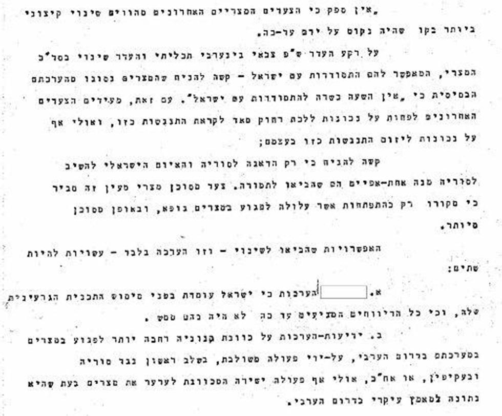 """מתוך המסמכים: """"הערכות כי ישראל עומדת בפני מימוש התוכנית הגרעינית"""" (באדיבות ארכיון צה""""ל במשרד הביטחון) (באדיבות ארכיון צה"""