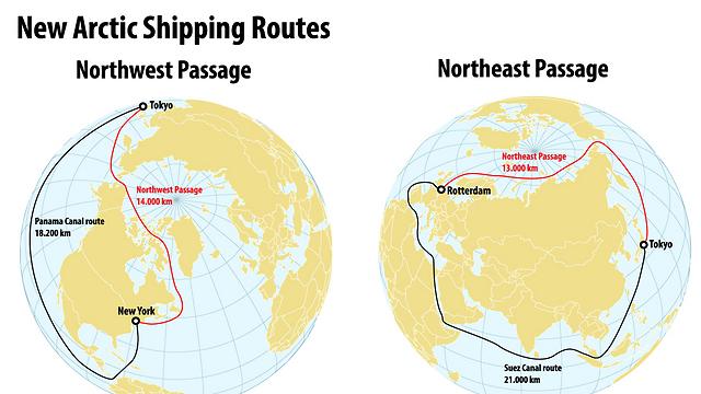 כך מתקצרת הדרך מטוקיו לאירופה ולאמריקה, דרך המעבר הצפון מערבי והצפון מזרחי (צילום: shutterstock) (צילום: shutterstock)