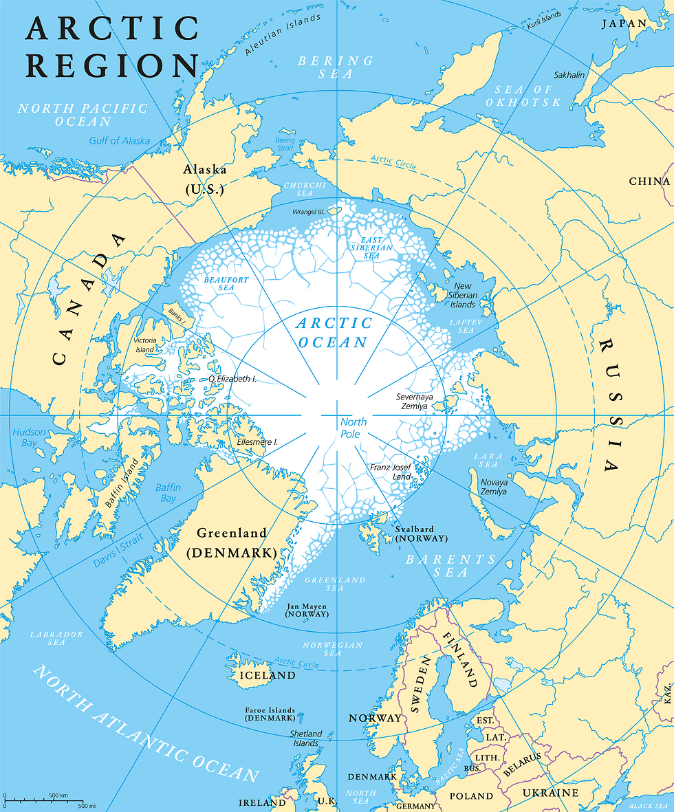 מפת המדינות המקיפות את הקוטב הצפוני (צילום: shutterstock) (צילום: shutterstock)