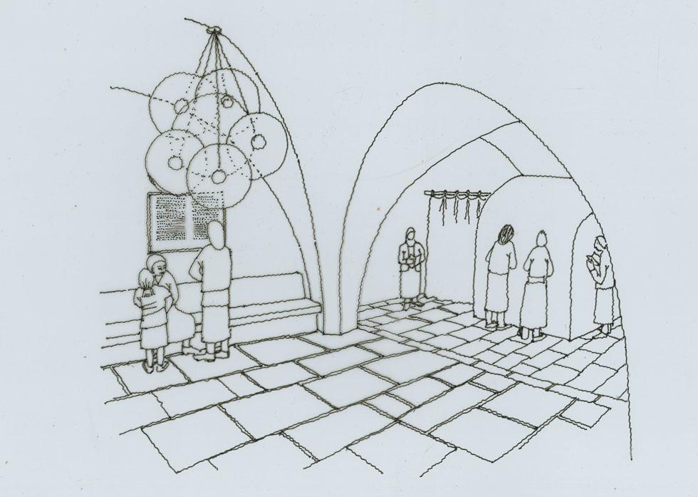 סקיצה של קבר רחל, אחת העבודות האחרונות שהשתתף בתכנונן, בניסיון להחזיר למקום, שהפך למבנה מבוצר, משהו מאופיו המקורי (סקיצה: אדריכל עמרי נחום)