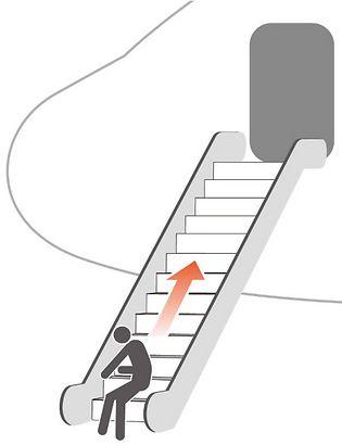 אילוסטרציה: כך טיפס קיג'ימה את גרם המדרגות, כאשר נשען על גבו והרים את עצמו בעזרת ידיו