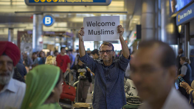 Protest at airport against previous travel ban (File photo: AFP)