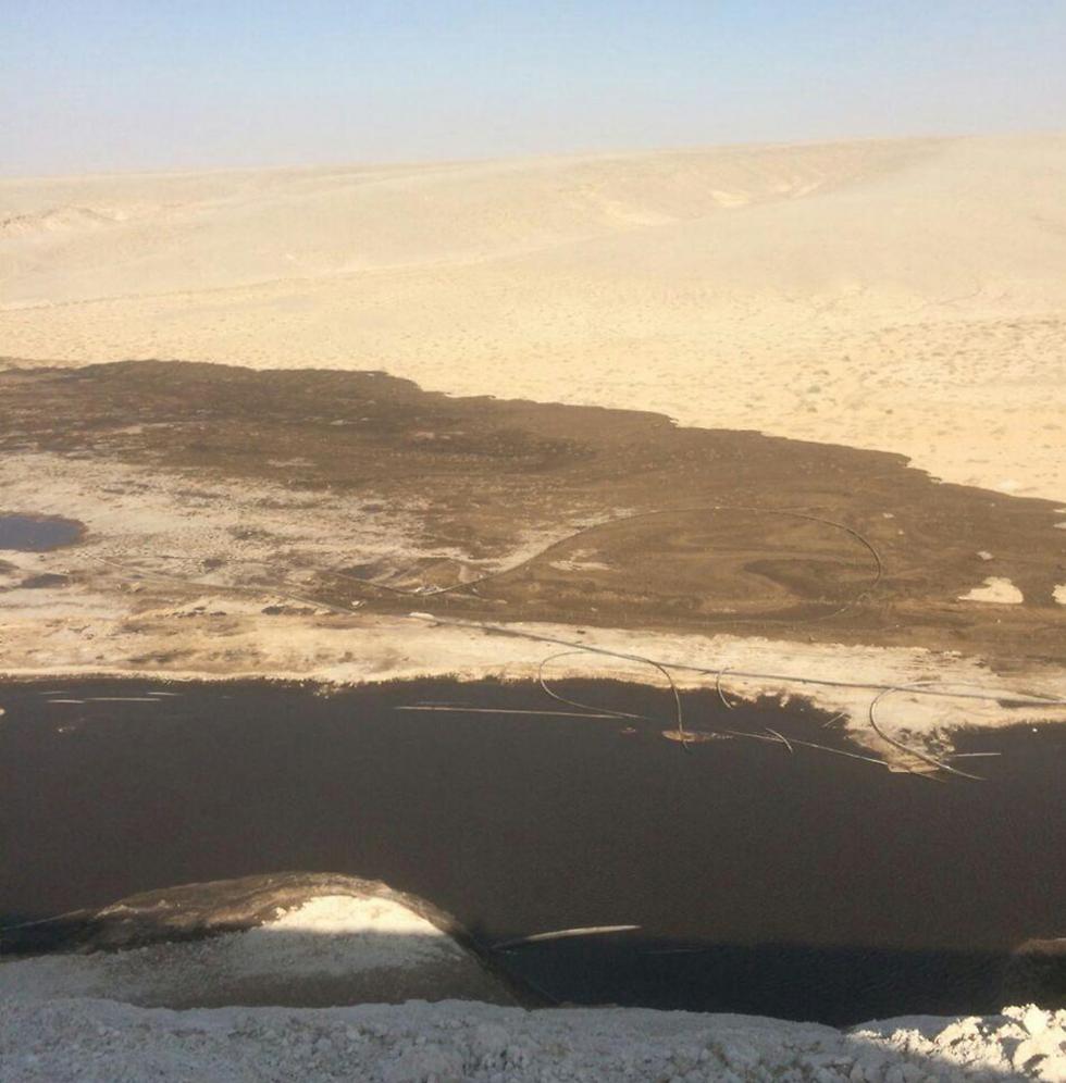 אזור קריסת דופן הסוללה (צילום: עודד נצר, המשרד להגנת הסביבה) (צילום: עודד נצר, המשרד להגנת הסביבה)